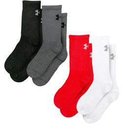 4 Pair Boys Under Armour Charged Cotton Crew Socks Black Whi