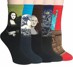 Chalier 5 Pairs Womens Famous Painting Art Printed Funny Casual Cotton Crew