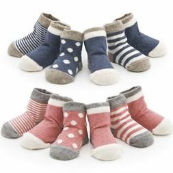 4 pairs Baby Girl Boy Anti-slip Socks Striped Newborn Slippe