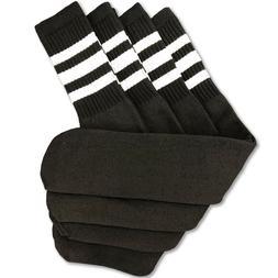 4 Pairs Black Tube Socks w/ White Stripes Heavyweight Thick
