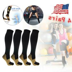 4 Pairs Copper Fit Energy Knee High Compression Socks, SM L/