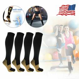 4 Pairs Copper Infused Compression Socks Knee High , SM L/XL