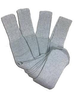 4 Pairs Mens Grey Tube Socks Big and Tall Extra Long Thick C