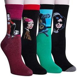 Loritta 4 Pairs Womens Famous Painting Socks Art Printed Pat