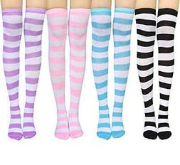 Chalier 4 Pairs Womens Striped Knee Socks Long Cosplay Over