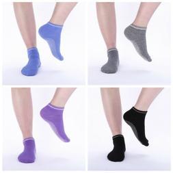 4 Pairs Yoga Fitness Grip Excercise Socks Pilates Rubber Non