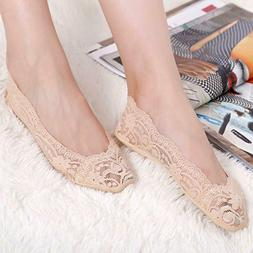4pairs Women's Lace Invisibility Hosiery Thin Lace No Show S