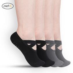4pcs Yoga Socks Women Non-Slip Grips &Straps For Pilates Pur