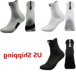 5 Pack Men's Elite Basketball Socks Dri-Fit Athletic Crew Mi