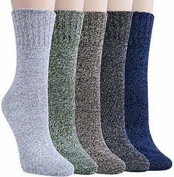 5 Pack Womens Wool Socks Winter Warm Vintage Thick Knit Wool