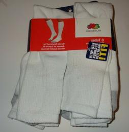 Fruit of the Loom 5 Pair White Tube Socks Durable Sz 6-12 op