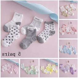 5 Pairs Baby Boy Girl Cotton Cartoon Socks NewBorn Infant To