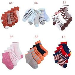 5 Pairs Baby Boy Girl Cotton Socks Newborn Toddler Kids Cart