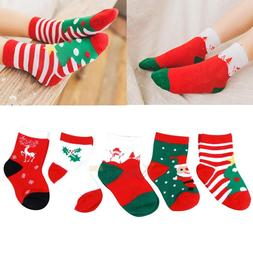 5 Pairs Baby Kids Toddlers Girls Boys Christmas Socks Warmer