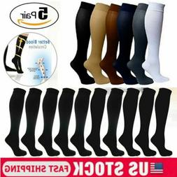 5 Pairs Copper Compression Socks 20-30mmHg Graduated Support