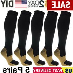 5 Pairs Copper Fit Energy Knee High Compression Socks Recove