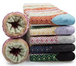 5 Pairs - YSense Merino Wool Winter Knit Casual Crew Warm So