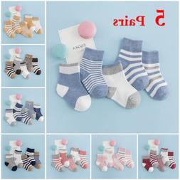 5 Pairs Newborn Baby Boy Girl Cartoon Cotton Socks Infant To