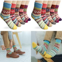 5 Pairs Vintage Style Winter Warm Thick Knit Wool Cozy Crew