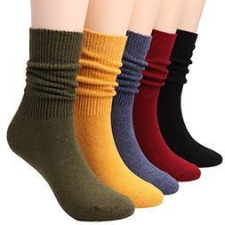 TINTAO 5 Pairs Women Comfortable Crew Soft Slouch Knit Cotto