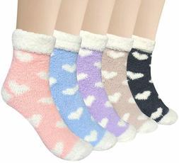 5 Pairs Women Warm Fuzzy Fluffy Socks Super Soft Cozy Home S