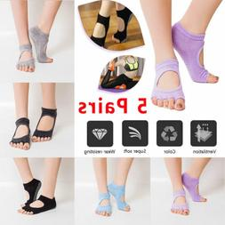5 Pairs Women Yoga Socks Barre Socks Pilates Sock Toeless No