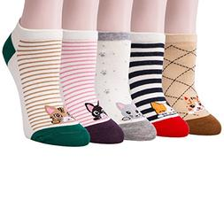 Loritta 5 Pairs Womens Cute Cotton Ankle Socks Funny Cat No