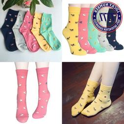 Chalier 5 Pairs Womens Cute Funny Socks Casual Cotton Crew A