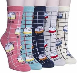 Chalier 5 Pairs Womens Cute MILK Socks Casual Cotton Crew Fu
