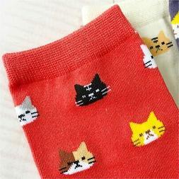 Chalier 5 Pairs Womens Funny socks Cozy Cute Printed, Navy,