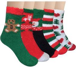 5 pairs womens fuzzy christmas socks warm