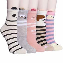 5 Pairs Womens Girls Cute Funny Animal Crew Socks Casual Cot