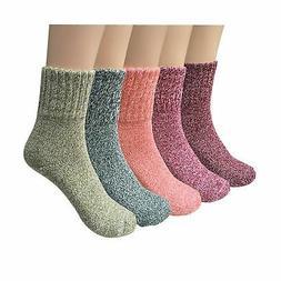 YSense 5 Pairs Womens Knit Warm Casual Wool Crew Winter Sock