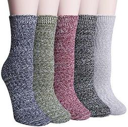 Loritta 5 Pairs Womens Vintage Casual Socks Colorful Knit Co