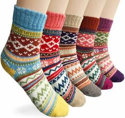 Loritta 5 Pairs Womens Vintage Style Winter Soft Warm Thick