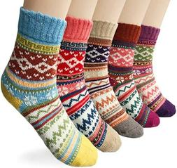 5 Pairs Womens Vintage Style Winter Soft Warm Thick Knit Woo