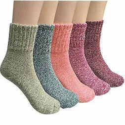 5 Pairs Womens Wool Socks Thick Knit Vintage Winter Warm Coz