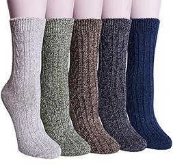 5 pairs womens wool socks winter warm