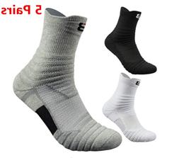 5Pairs Basketball Socks Athletic Crew Sport Middle Ankle Soc