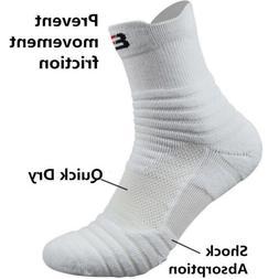 5 Pairs Men's Elite Basketball Socks Dri-Fit Athletic Crew M
