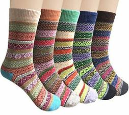 5Pairs Women Vintage Style Winter Warm Thick Knit Wool Cozy