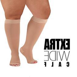 5XL Mojo Compression Socks Plus Size Extra Wide Calf, Knee-H