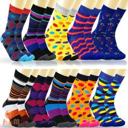 6 12 Pairs Mens Colorful Funky Casual Dress Novelty Wedding
