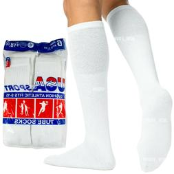 6 12 Paris Mens Cotton Athletic Sports Tube Socks Size 9-15