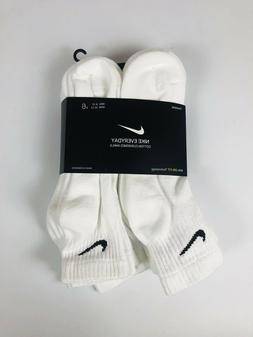 6 Pack Nike Everyday Cotton Cushioned Ankle Socks White Larg