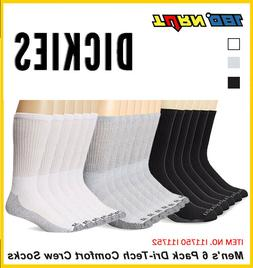 6 Pack Dickies Mens Dri-Tech Comfort Crew Socks White Black