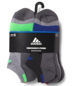 ADIDAS 6-Pair Mens No Show Cushioned Socks Moisture Wicking