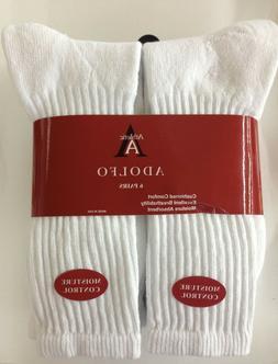 6 Pair  ADOLFO White Crew Socks  #1 Quality Men's size 10-13
