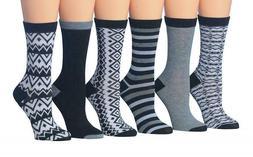 6 Pair Tipi Toe Women's Funky Crew Socks Shoe Size 5 - 9