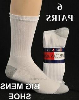 6 Pairs BIG MENS Shoe 12-15 Lightly Cushioned Cotton Crew So